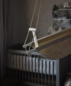 Natural baby swing in linen - fabric swing for baby and toddler